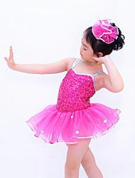 Balé Vestidos Crianças Actuação Náilon Chinês / Organza / Lantejoulas Paetês / Franzido / Lantejoulas / Bolinhas 2 Peças Sem Mangas