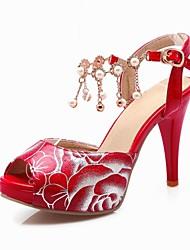 Zapatos de mujer-Tacón Stiletto-Tacones / Punta Abierta / D'Orsay y Dos Piezas-Sandalias-Oficina y Trabajo / Fiesta y Noche-PU-Negro /