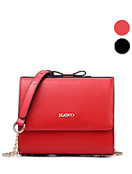 NAWO Women Cowhide Shoulder Bag Red / Black-N153191