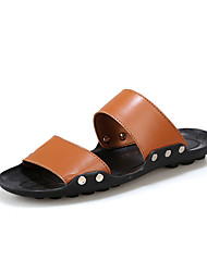 Men's Shoes Casual PU Slippers Black / Brown