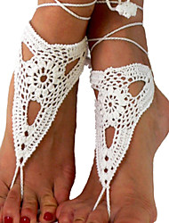 Women's Beach Wear Crochet Cotton Bracelet Net Ankle Chain  Barefoot Sandals