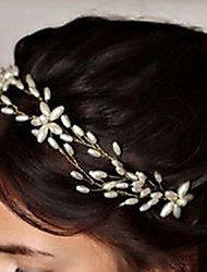 Bride's Flower Shape Rhinestone Hair Headband Pearl Wedding Hair Clip Accessories 1 PC