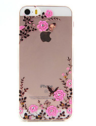 For iPhone 5 Case Transparent Case Back Cover Case Flower Soft TPU for iPhone SE/5s/5