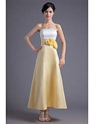Prom Formal Evening Dress - Color Block A-line Strapless Ankle-length Satin with Flower(s) Pleats