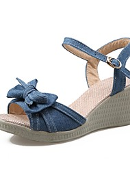 Women's Shoes Denim Wedge Heel Wedges / Peep Toe Sandals Office & Career / Party & Evening / Dress Black / Blue / Navy