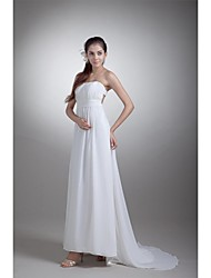 Sheath / Column Wedding Dress Sweep / Brush Train Strapless Chiffon / Satin with Draped