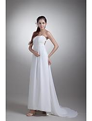 Sheath / Column Wedding Dress Sweep / Brush Train Strapless Chiffon / Satin