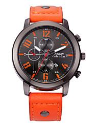Men's Fashion Watch Calendar Casual Watch Quartz Leather Band Black Red Orange Brown