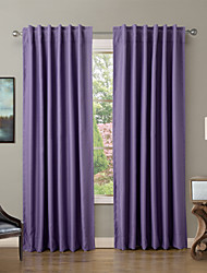 Solid Thermal Insulated Blackout Curtain Drape - Back Tab / Rod Pocket - Violet, Red  (Set of 2 Panels)