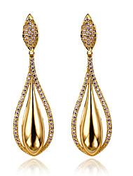 Women's Big Water Drop Cubic Zirconia Party Earrings Dangling Deluxe Brass Earring Platinum Plated Silver Pins