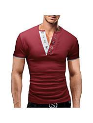 Herren T-shirt-Einfarbig Freizeit Baumwolle Kurz-Blau / Rot