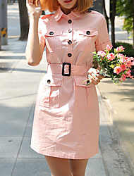 Women's Casual/Daily Sexy / Vintage Sheath Dress,Solid Shirt Collar Above Knee Short Sleeve Pink Cotton Summer