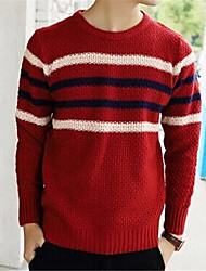 Men's Striped Pullover,Cotton Long Sleeve