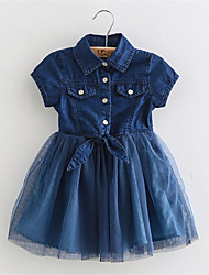Hot Selling Baby Clothes Girl Clothes Denim Short-Sleeved Summer Dress Clothes Denim Jeans Stitching Gauze Dress