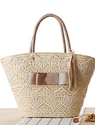 STYLE-CICIWomen-Casual-Straw-Shoulder Bag-Beige / Brown
