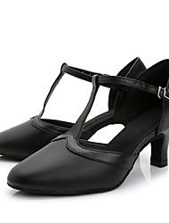Chaussures de danse(Noir) -Non Personnalisables-Talon Aiguille-Cuir-Latine Moderne Salon Chaussures d'Entraînement