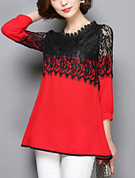 Women's Patchwork Pink / Red / Black Long section Blouse,Casual Lace Cut Out Fashion Round Neck ¾ Sleeve Polyester/Nylon