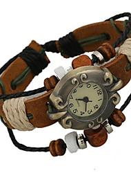Damen Modeuhr digital Leder Band Braun Marke-