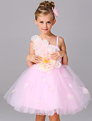 Ball Gown Knee-length Flower Girl Dress - Satin / Tulle Sleeveless Straps with Bow(s) / Flower(s)