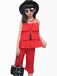 Mädchen Kleidungs Set-Party/Cocktail Patchwork Polyester Sommer Schwarz / Rot