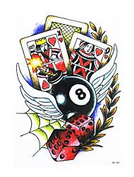 8pcs décalque faux étanche tatouage temporaire bras de corps en arrière aile d'art poker dés autocollant conception de tatouage pour les