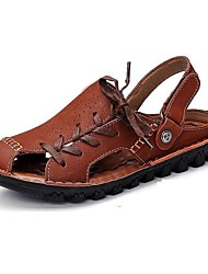 couro sapatos ao ar livre / casuais sandálias de homem ao ar livre / casuais sandálias do esporte calcanhar plana taupe oca-out
