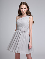 Short / Mini Chiffon Bridesmaid Dress Sheath / Column One Shoulder with Side Draping