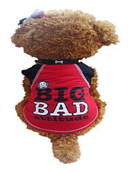 Cães Camiseta Vermelho Verão Carta e Número