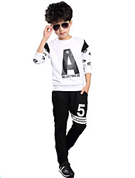 Boy's Cotton Spring/Autumn Print Clothing Set Kids Long Sleeves Sports O-Neck Casual Clothes Two-Piece Set