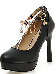 Women's Shoes Leatherette Spring / Summer / Fall Heels Heels Wedding / Party / Casual Chunky Heel BuckleBlack / Blue /