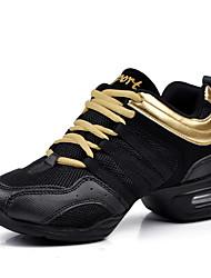 Non Customizable Women's Dance Shoes Dance Sneakers / Modern  Flat Heel Black / Red / White / Gold