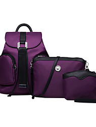 Women Nylon Bucket Backpack / School Bag / Travel Bag - Purple / Blue / Red / Black