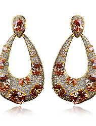 Drop Earrings Cubic Zirconia Copper Gold Plated Statement Jewelry Bohemian Fashion Oval White Purple Red Champagne JewelryWedding Party