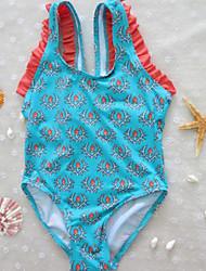 Bañador Chica de-Playa-Estampado-Acrílico-Todas las Temporadas-Azul