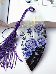 Chinese Painting Purple Peony Leaf Veins Bookmark