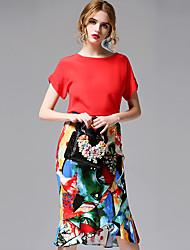 AFOLD® Women's Round Neck Short Sleeve Knee-length Dress-5679