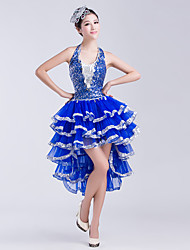 Latin Dance Dresses Women's Performance Chinlon Sequins 1 Piece  Latin Dance Sleeveless Natural Dress