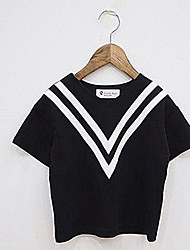 Girl's Casual/Daily Color Block Blouse,Cotton Summer Black / White