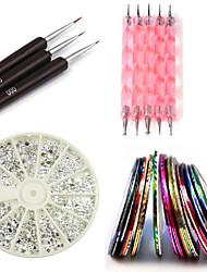 kit de clou comprend 30 bandes de striping&12 strass argent&ensemble stylo parsemant&ensemble de la brosse