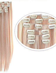 Hot Selling Clip in Hair Extentions Clip in Synthetic Hair #18/613 Mixed Color 7pcs/set 22inch Cheap Straight Hair