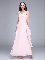 Ankle-length Straps Bridesmaid Dress - Open Back Sleeveless Chiffon