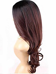 Beauty Girl Capless Wine Red Color Fashion Long Wave  Mixed Color Synthetic Wig