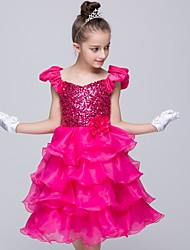 A-line Knee-length Flower Girl Dress - Organza / Satin / Sequined Sleeveless Off-the-shoulder with