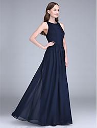 Sheath / Column Jewel Neck Floor Length Chiffon Bridesmaid Dress with Lace by LAN TING BRIDE®