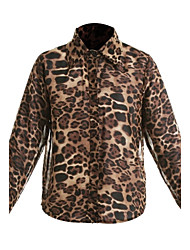 Women's Casual/Daily Simple Spring / Summer / Fall Shirt,Leopard V Neck Long Sleeve Polyester Thin