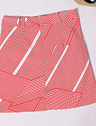 Women's Striped Red / Black A Line Bodycon Skirts,Street chic / Casual High Waist Preppy Chic Mini Polyester