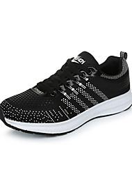Femme-Extérieure / Décontracté / Sport-Noir / Bleu / Gris-Talon Plat-Confort / Nouveauté / Bout Fermé-Sneakers-Tissu