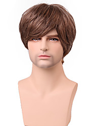 Handsome Short Layered Straight Men's Capless Human Hair Wig
