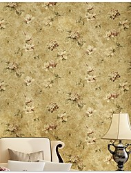 Non-woven Chinese Style Vintage Flowers Living Roon Bedroon Decor Wallpaper Flocking Murals of Wall Paper Roll