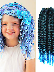 "Black Ombre Light Blue 12"" Kid's Kanekalon Synthetic 2X Havana Mambo Twist 100g Hair Braids with Free Crochet Hook"